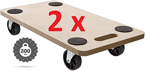 2x HMH Rollbrett 58x30cm Transportroller MDF Möbelroller Möbelhund Roller bis 200kg