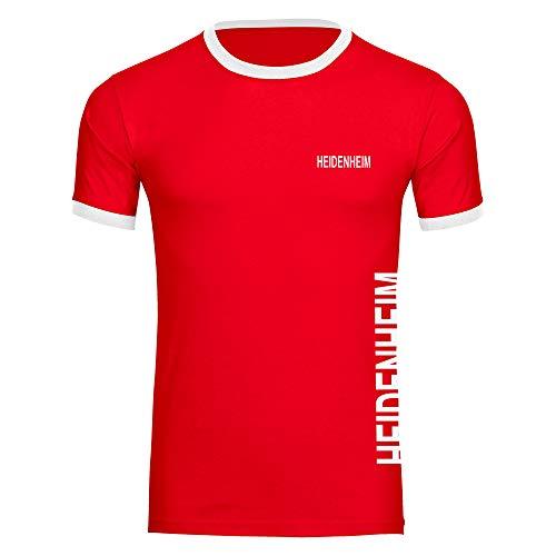 Multifanshop Herren T-Shirt Heidenheim seitlich - Schriftzug auf der Brust und auf der Seite - rot/weiß - Größe S bis 5XL - Fußball Fanartikel Fanshop,Farbe:rot/weiß,Größe:S