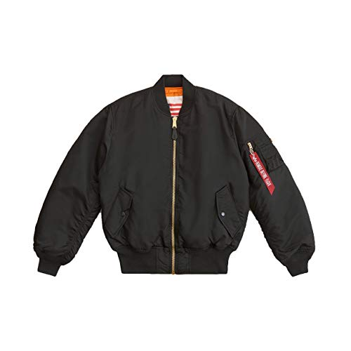 Alpha Industries Men's MA-1 Blood Chit Flight Jacket (L, Black)