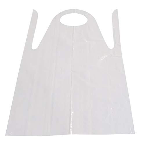 HEALLILY Delantales Desechables de 20 Piezas Delantales de Plástico Impermeables Delantales de Pintura Delantales de Artista para Pintar Cocina Hornear Cocinar (Blanco Lechoso)