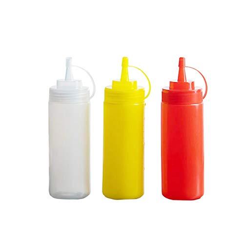 Xiangze Gewürzspender, Squeeze Condiment Flaschen für Ketchup/Senf/Salatdressing 3pcs