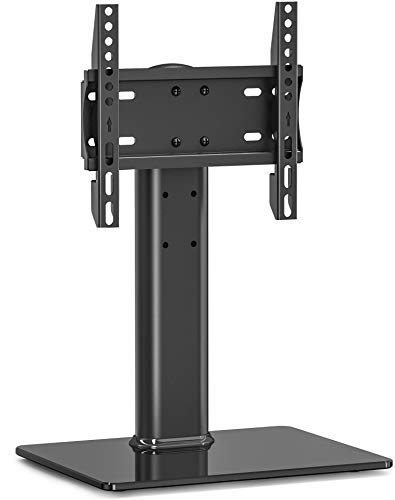 FITUEYES Universal Swivel TV Stand/Base Table Top TV Stand 19 to 39 inch TVs 80 Degree Swivel, 3 Level Height Adjustable Heavy Duty Tempered Glass Base Holds up to 99lbs TVS TT103202GB