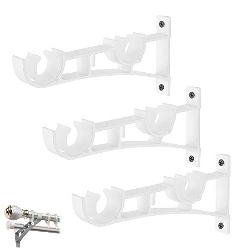 N/W 3 Pcs Heavy Duty Curtain Rods, Adjustable Curtain Rod Brackets Curtain Rod Bracket, Curtain Rod Holders for Wall, Double Curtain Rod Decorative Rod Hooks (White)