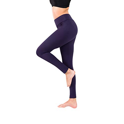 Baihetu Buttery Soft Leggings for Women-Regular and Plus Size Leggings with Inner Pockets -Yoga Pants Purple One Size