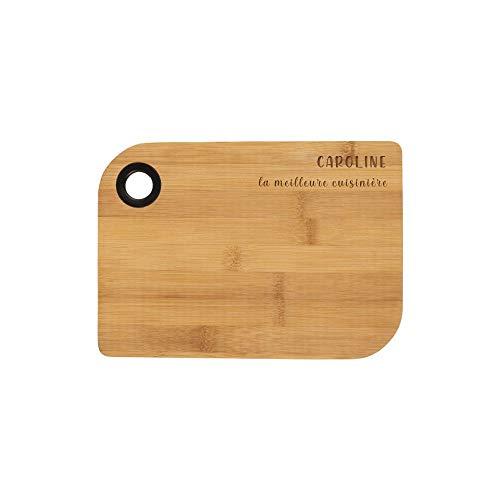 DECOHO Planche à découper de Cuisine, Planche apéritif, Planche à Fromage en Bambou Personnalisable par Gravure Laser - 25 x 18 cm - Bambou/Silicone - 17,9