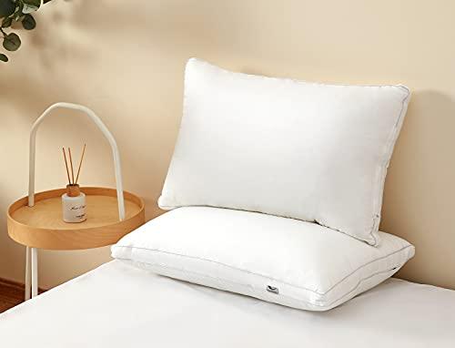 2 Paquetes de Almohadas hipoalergénicas para Dormir de Lado y de Espalda; Almohadas Suaves de Calidad de Hotel – Tamaño estándar 48 x 74 cm (1200)