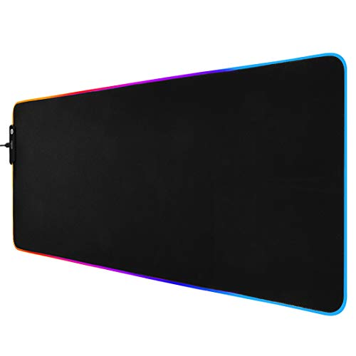 Actto RGB Backlit Gaming Mouse Pad with Stitched Edges, LED Soft Extra Extended Large Mouse Pad, Anti-Slip Rubber Base, Waterproof Keyboard Pad, Desk Mat Pad for Gamer, Office & Home, 30.7 X 11.8 Inch