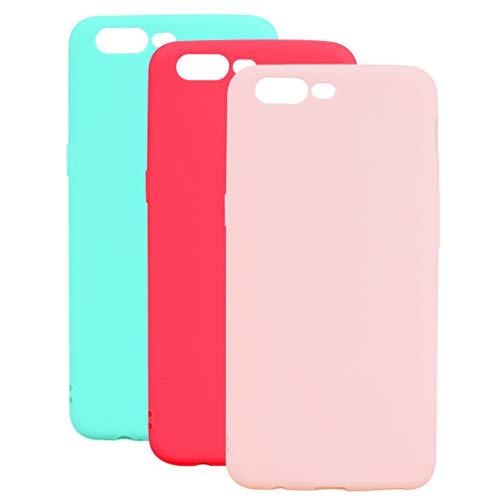 3 Farben OnePlus 5 Hülle, Yunbaozi Protective Case Gummi Schale Silikon Schutzhülle Gelee Süßigkeiten Glatt Flexibel Schlank Hülle für OnePlus 5, Grünes Rotes Rosa