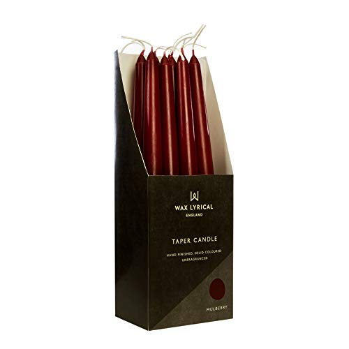 Wax Lyrical Unscented 25 cm Tapered Dinner Candle Mulberry, Box of 12, 25cm, Red