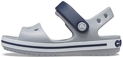 Crocs Kids' Crocband Sandals, Light Grey/Navy, 10 Toddler