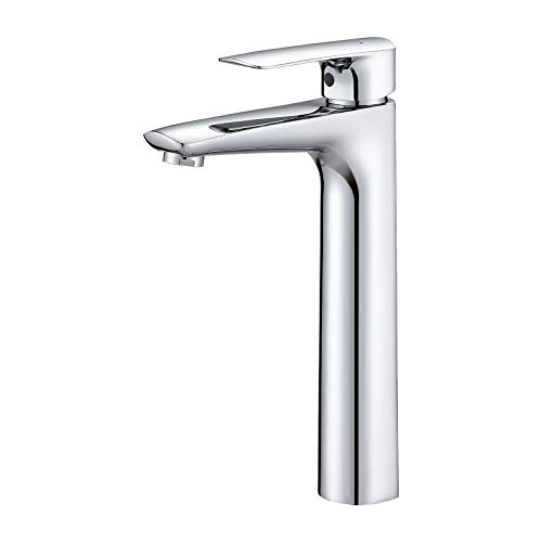 KAIBOR Chrom Waschtischarmatur für Aufsatzwaschbecken, Hohe Wasserhahn Bad mit Auslaufhöhe 223mm, Waschtisch-Einhebelmischer für Aufsatzwaschbecken und Waschschalen, ideale Wahl für Hotel und Haushalt