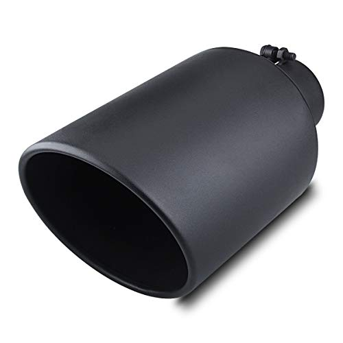 PAIR OF TWO POWDER COATED BLACK UNIVERSAL EXHAUST TIPS 4