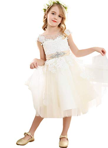 Bow Dream Vintage Lace Flower Embroidery Flower Girl Dress for Formal Wedding Baptism Ivory 2T