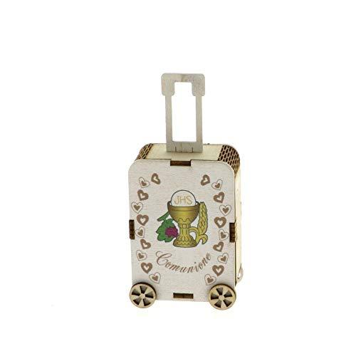 A&D Cajita de madera para comunión, con carrito y maleta, para confiteras