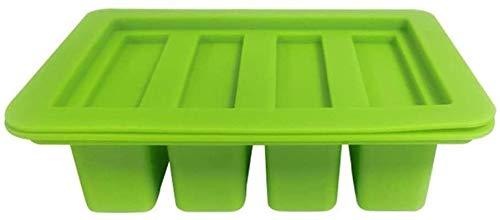 hwljxn 4 Hohlräume Butterform mit Deckel, Multifunktions-Lebensmittelqualität Silikon-Backform für Butter-Stick, Seifenbar, Energiebar, Muffin (Color : Green)