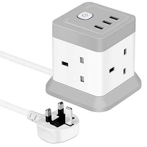 Cube Extension Lead with USB, 4 Way Power Strip with 3 USB Ports (5V/2.4A)...