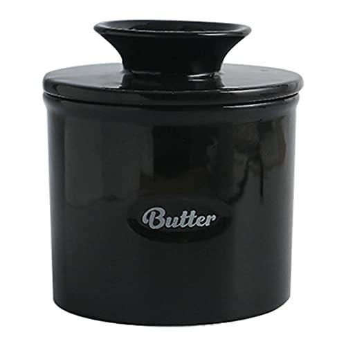 Fenteer Tarro de mantequilla de porcelana hecho a mano creativo, soporte de almacenamiento untable suave fresco para mostrador, fácil limpieza para - Negro