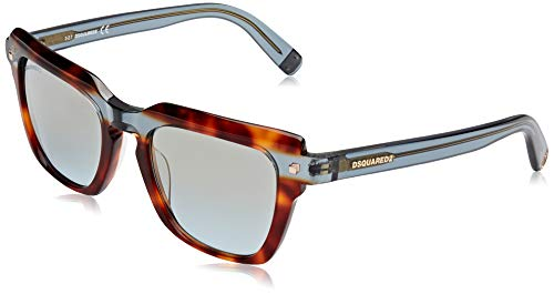 DSQUARED2 Kat Gafas de sol, Marrón (Havana/Other/Blu Mirror), 51.0 Unisex Adulto
