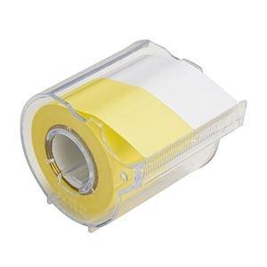 (まとめ) ヤマト メモック ロールテープ カッター付 25mm幅 黄&白 R-25CH-WY 1個 〔×15セット〕