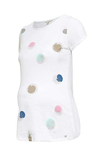 ESPRIT Maternity Damen ss Umstands-T-Shirt, Mehrfarbig (White 100), 40 (Herstellergröße: L)