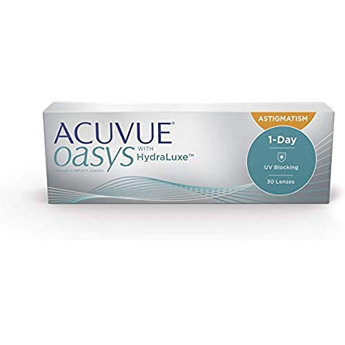 Acuvue Oasys 1-Day for Astigmatism Tageslinsen weich, 30 Stück / BC 8.5 mm / DIA 14.3 / CYL -0.75 / Achse 10 / -3.25 Dioptrien