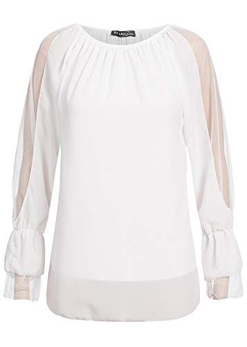 Styleboom Fashion® Damen Bluse Langarm Shirt Chiffon Top 2-LagigWeiss, Gr:S