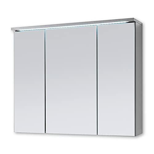 Stella Trading TWO Spiegelschrank Bad mit LED-Beleuchtung in Titan / Weiß - Badezimmerspiegel Schrank mit viel Stauraum - 100 x 68 x 22,5 cm (B/H/T)