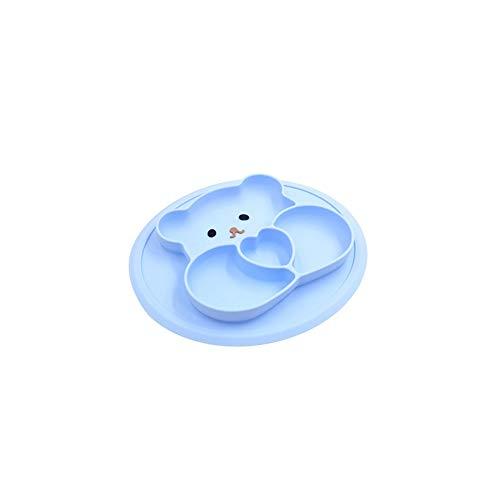 Wagrass Baby Teller Baby Teller geteilte Schleife Cartoon Niedlicher Bär Platzset Silikon Teller für Babys Rutschfest Kinder Geschirr Kleinkinder Essenszubehör Geschirr (Farbe: Blau)