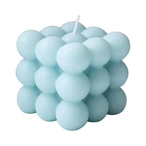 WHkeji Velas perfumadas Hogar Geométrico Modelado Decoración Rubiks Cubo Aromaterapia Vela Creativa Fotografía Prop(Azul)