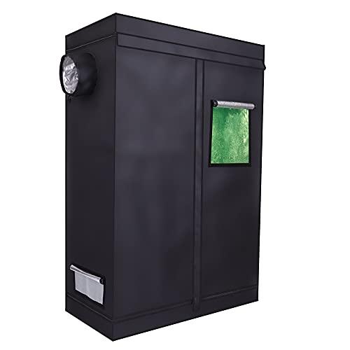 Qdreclod Growbox 120 * 60 * 180 cm, Growzelt für Innen mit Fenster, Grow Tent für Gemüse & Obst Indoor, Growbox Komplettset Gewächshaus Zuchtzelt, Growschrank Darkroom Pflanzenzelt für Homegrowing