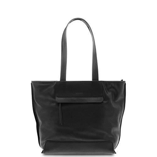 GIUDI ® - Tasche aus echtem Leder - echtes weiches Kalbsleder mit Einsätzen aus poliertem Kalbsleder - Made in Italy, Schwarz  (Schwarz) - 10814/VLV/COL