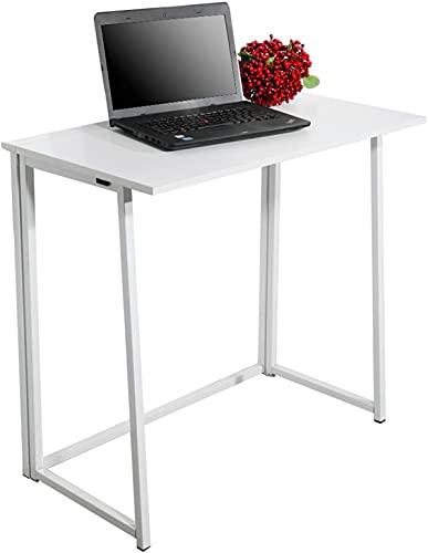 Secok Escritorio plegable para ordenador, sin montaje, simple escritura, para casa, oficina, escritorio, color blanco