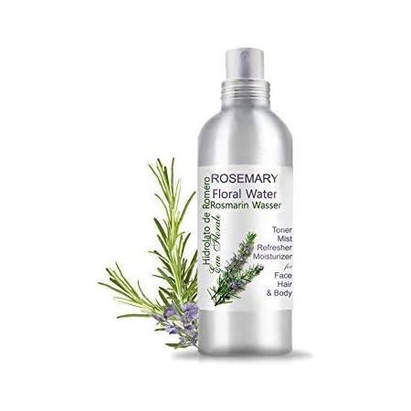Hidrolato de Romero Agua Floral Spray - Loción Tónica para el cabello y la piel grasa y con acné (200 ml) Natural 100%