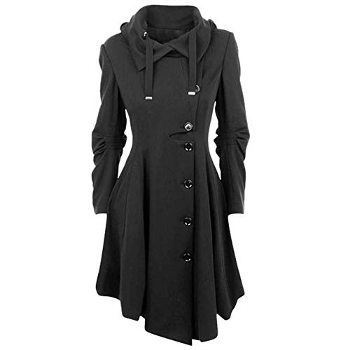 Janly Clearance Sale Abrigo para mujer, de lana sintética para mujer, abrigo grueso, para invierno, Navidad, color gris - 5XL)