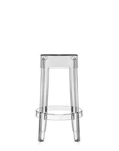 Kartell Charles Ghost Medium Hocker, Kristall, 2 Stück
