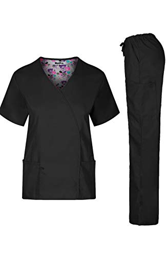MEDPRO Women's Solid Stretchy Medical Scrub Set Top and, Black2, Size Large