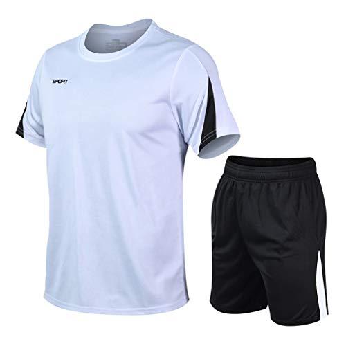 Herren Sport Laufen Kompressionshemd Yoga Athletic Outfit Lederhose FitnessAusbildung Fitnessstudio Kleidung Yoga Anzüge Trainieren Ausbildung Ausbildungsanzüge (5XL,4Weiß)