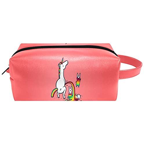 Unicornio rosa - Bolsa de cosméticos para mujer, piel de microfibra, organizador con cremallera