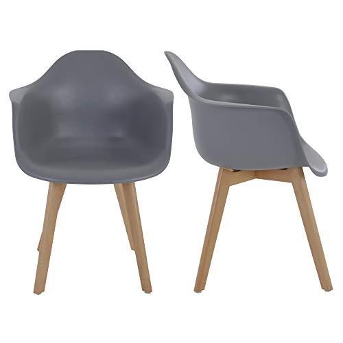 MACOShopde by MACO Möbel 2er Set Esszimmerstühle – Skandinavisches Retro Schalen Design - Küchenstühle aus Kunststoff, und Massivholz grau mit Armlehnen