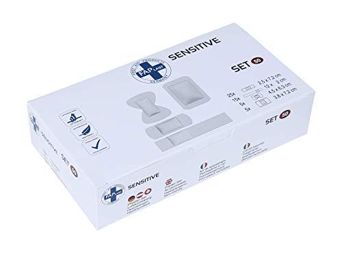HierBeiDir Sensitive Pflaster-Set, extra flexibel & dehnbar, atmungsaktiv, hautfreundlich, hypoallergen, 50 Stück, für Gelenk, Kuppe, Pflaster & Strips