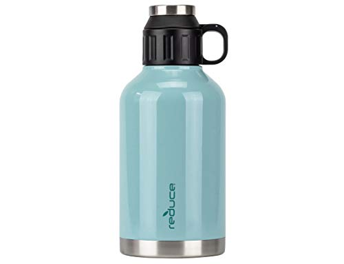Reduce Insulated Growler, 64 oz – 48 Hours Cold, 12 Hours Hot – Vacuum Insulated, Large Capacity for Any Adventure – Dual Opening Leak-Proof Lid, Doubles as a Cup – Eucalyptus, Opaque Gloss