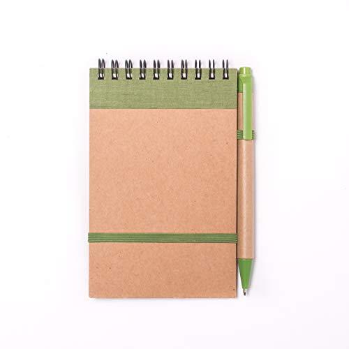 Projects Mini bloc de notas con bolígrafo, color verde, pequeño a rayas, con banda de goma, encuadernación en espiral, tapa dura, bolígrafo, 80 g/m², 70 páginas