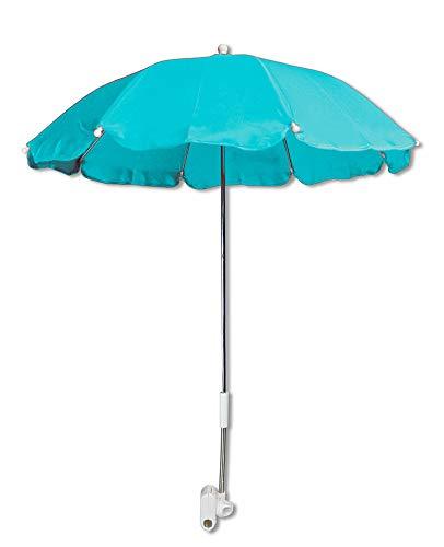 Vetrineinrete® Ombrellino per passeggino parasole universale ombrello Ø70 cm per carrozzina protezione dai raggi solari uv accessori per carrozzino verde acqua A29