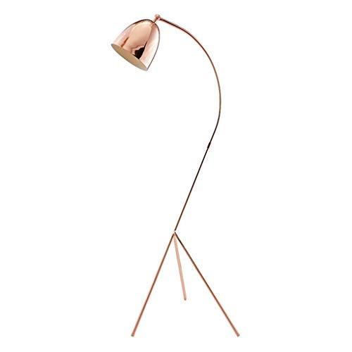 Lampe sur pied Lámpara de pie Casa Salón Princesa de la muchacha iluminación de la decoración moderna simple dormitorio Estudio de tres patas Interruptor vertical lámpara de mesa de oro rosa de pies,