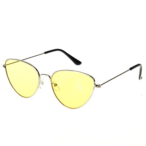 NJJX Trend Cat Eye Gafas De Sol De Metal Gafas Retro Para Hombres Y Mujeres Fashion Cateye Fashion Gafas De Sol Lady Eyewear Amarillo
