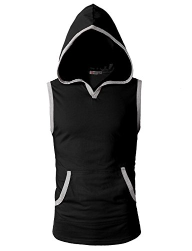 H2H Mens Fashion Slim Fit Sleeveless Lightweight Tank Tops with Hoodie Black US 3XL/Asia 4XL (CMTTK015)