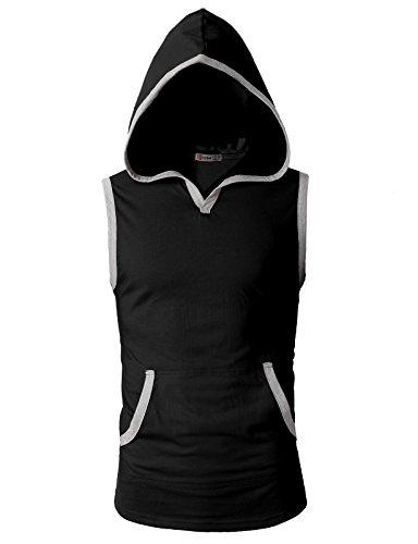 H2H Mens Fashion Slim Fit Sleeveless Lightweight Tank Tops with Hoodie Black US 3XL/Asia 4XL (CMTTK015)