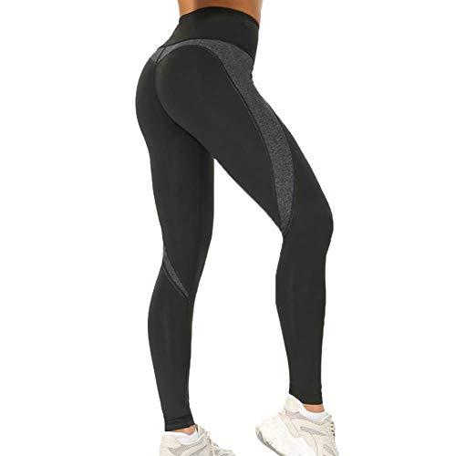 Laufhose Damen Elastische Yogahose mit Hosentasche Hohe Taille Sport Leggins für Fitness 2 Stile Schwarz