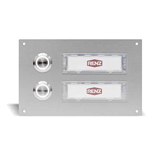 Edelstahl Türklingel für 2 Familien mit LED Beleuchtung in Weiß (145 x 90 mm), Haustürklingel mit austauschbaren Namensschildern, wasserdichte und UV beständige Klingel mit Bohrbefestigung