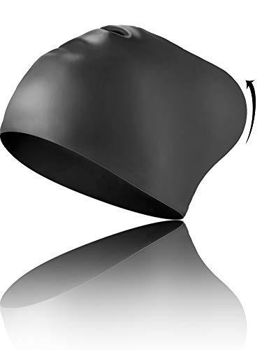 Geyoga Capelli Lunghi Cappelli Da Nuoto Progettati Per Capelli Ricci, Dreadlock, Trame, Adulto Donna E Uomini Impermeabile Nuoto Cuffie (Nero)
